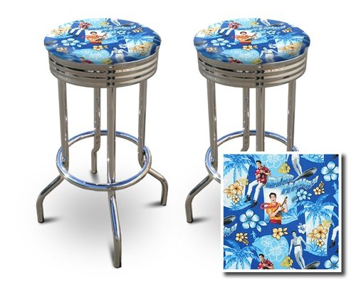 2 24'' Elvis Presley Blue Hawaii Fabric Specialty / Custom Barstools Set by The Furniture Cove