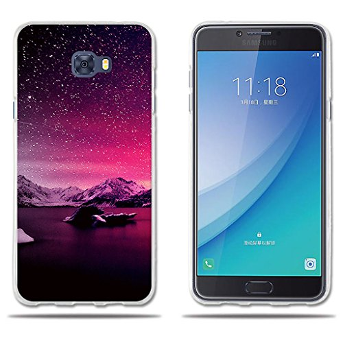 - Samsung Galaxy C7 Pro Case Beautiful Drawing [Snow Mountain] FUBAODA TPU Silicone Shell [Impact Resistant][Shockproof][Slim Thin] Light Soft Rubber Gel Protective Case