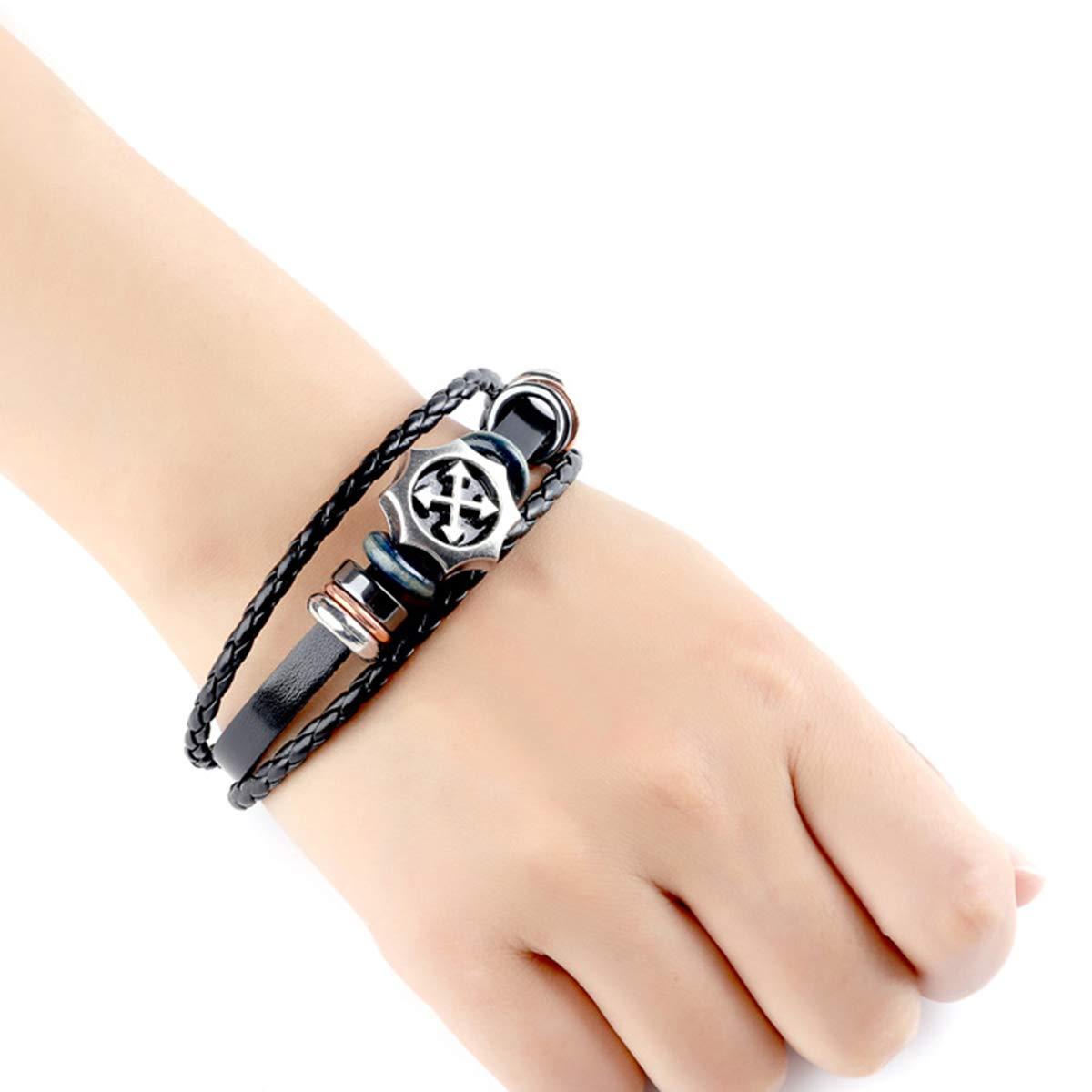 Helloriver Fashion Mens Bracelet Leather Handmade Decorative Bracelet Bracelet