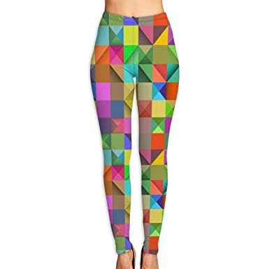 fbd367b415064 Amazon.com: Norman&New Women's Womens Pants Rectangle Rainbow Geometric  Colorful Yoga Leggings for Workout Running Fitness Sports Gym: Clothing