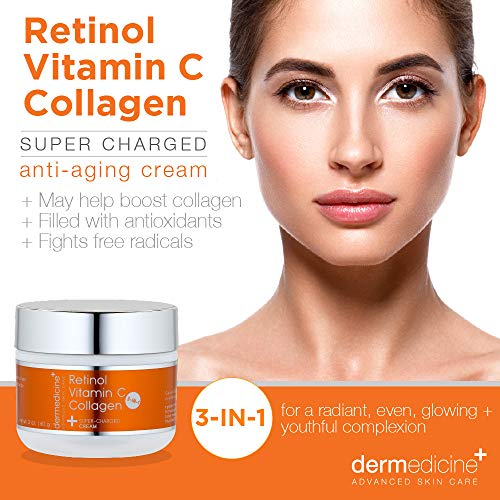 51PXj3WT2BL - Vitamin C + Retinol + Collagen | Super Charged Anti-Aging Cream for Face | Pharmaceutical Grade Quality | Helps Smooth & Plump Fine Lines & Wrinkles & Brightens for Younger Skin | 2 oz / 60 g