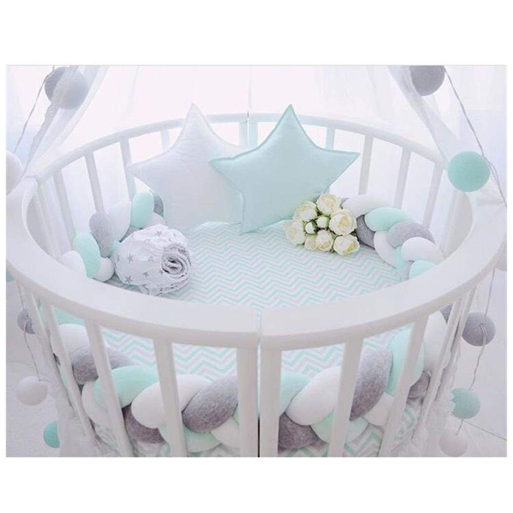 Eternitry Baby Crib Bumper Toddle Braided Nursery Bedding Sleep Knot Cot Bumpers Rollover Bed Cushion Bedding Roll Toy Plush Toys Bassinet DIY Hand Woven Cradle Protector Pad