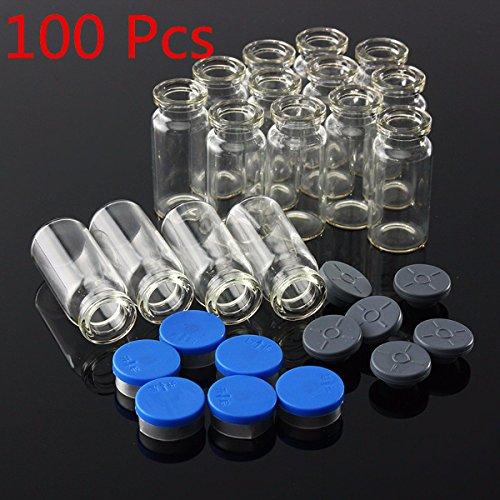 Tourwin Glass Vials,Oil Bottle,Pack of 100, 10ML Clear Glass Bottle with Stopper Flip Off Seals Aluminum Blue Caps