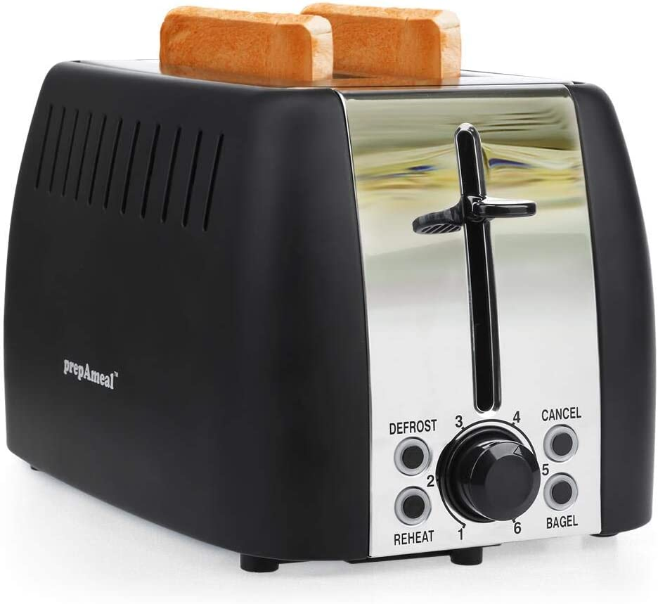 prepAmeal 2 Slice Toaster Stainless Steel Toaster Two Slice Bagel Toaster Small Bake Toaster with 6 Browning Setting, Reheat, Defrost, Bagel, Cancel Function, Extra Wide Slots (Black - 2 Slice)