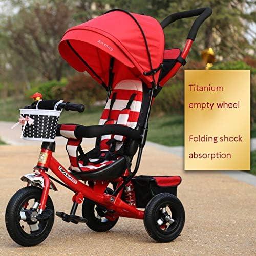BXZ Kinderfahrräder, Dreiräder, Falträder 1-6 Jahre alt, Kinderwagen, abnehmbare Schubstangen, Markisen,rot
