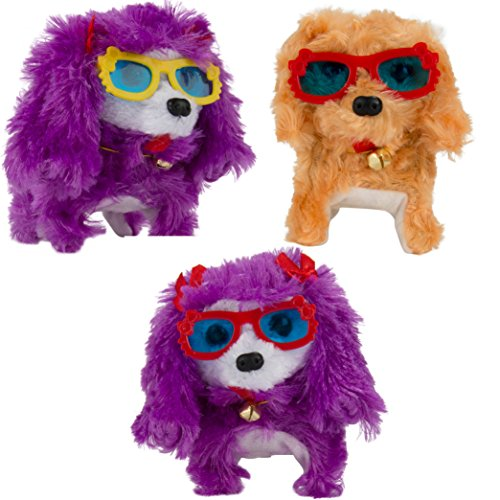 3 Pack Terrier Plush Toy Dog that Barks, Walks and Tail Wiggling for Kids, Ideal for Gifting, Stockings, Gift Topping or Charity