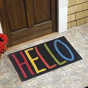 """Colorful Hello Vinyl Backed Coir Door Mat (18""""x30"""")"""