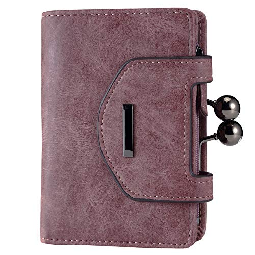 Women's Small Leather Fashion Compact Bifold Purse Wallet with Stylish Kiss Lock Coin Pouch ()