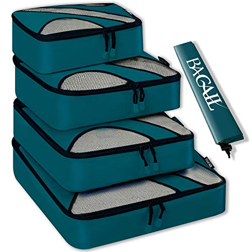 BAGAIL 4 Set Packing Cubes,Travel Luggage Packing Organizers with Laundry Bag Teal (Best Affordable Hiking Backpacks)