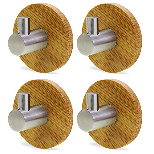 abcGoodefg Adhesive Hooks Bamboo and Stainless Steel Ultra Strong 3M Hanger Towel Hooks for Kitchen Bathrooms Lavatory Closets 4PCS