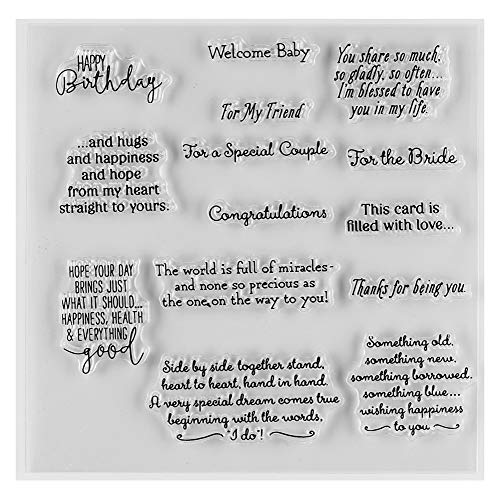 MaGuo Essential Sayings and Cheer up Words Clear Rubber Stamps for DIY Scrapbooking Paper Craft or Card Making Decoration
