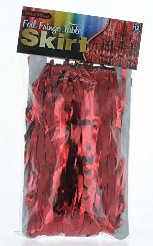 Red Metallic Foil Fringe Table Skirt 144