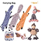 Nocciola 6 Pack Dog Squeaky Toys Three no Stuffing Toy and Three Plush Pet Toys with Stuffing for Small Medium Large