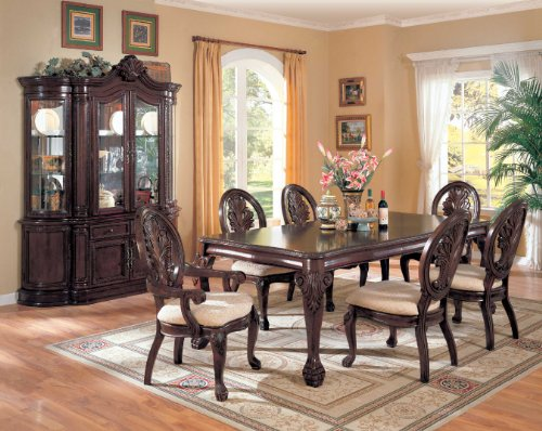 Saint Charles Collection 100134 64 China Cabinet with 2 Glass Doors 2 Wood Doors 2 Glass Shelves 6 Drawers Poplar Wood and Veneer Materials in Brown Color by Coaster Home Furnishings
