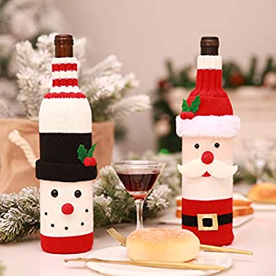 2pcs christmas wine cover dyixin christmas table decorations ornaments santa claus snowman knitted sweater wine bottle covers