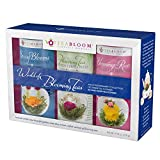 Teabloom Flowering Teas Gift Set Collection - 36 Assorted Blooming Teas in a Variety of Flavors and Flowers - Gift Box includes 3 Unique and Beautiful Flowering Tea Canisters - Makes 750 Cups of Tea