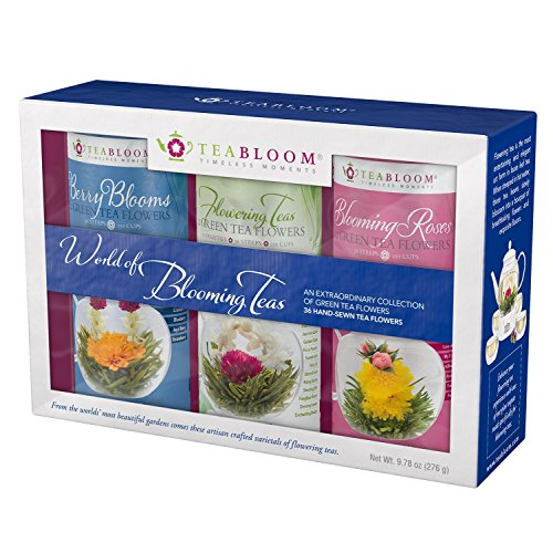 Teabloom Flowering Teas Gift Set Collection - 36 Assorted Blooming Teas in a Variety of Flavors and Flowers - Gift Box includes 3 Unique and Beautiful Flowering Tea Canisters - Makes 750 Cups of Tea -