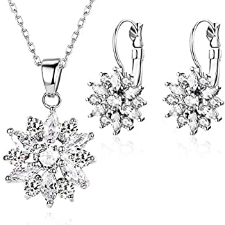 BAMOER 18K Rose Gold Plated Cubic Zirconia Snowflake Lever Back Earrings Necklace Set for Women CZ Jewelry Set