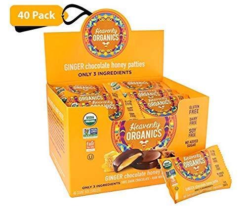 Heavenly Organics Ginger Chocolate Honey Patties Made with 100% Organic Cocoa and 100% Organic Raw White Honey; Non-GMO, Fair Trade, Kosher, Dairy & Gluten Free, No Sugar Added