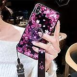 JRGSJK Caja del teléfono para iPhone Personalidad Cristal Templado Rhinestone Soporte de la Correa Caja del teléfono con cordón Estilo de la Hermana Púrpura Floral,iPhoneX/XS