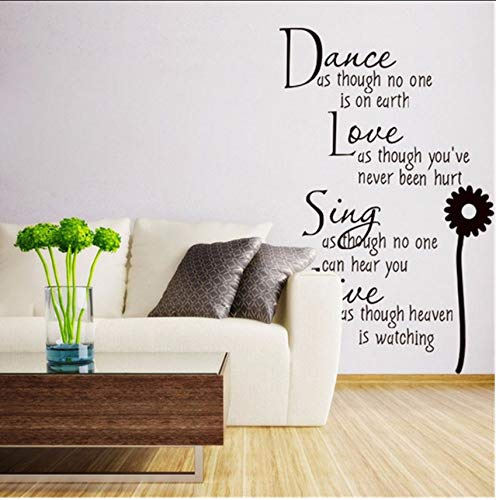 LSFHB Dance Love Sing Live Wall Sticker Quote Letter Vinyl Wall Decals Home Decor Wallpaper Modern Fashion Kids Rooms Home Decoration 35X50Cm ()