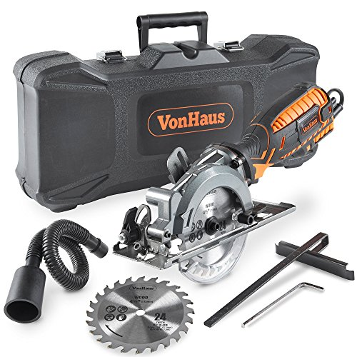 VonHaus Corded Ultra-Compact Circular Saw - 5.8 Amp, 3,500 rpm with Miter Function, Dust Port, Carry Storage Case, Vacuum Hose and 2x 24T Wood Blade Kit