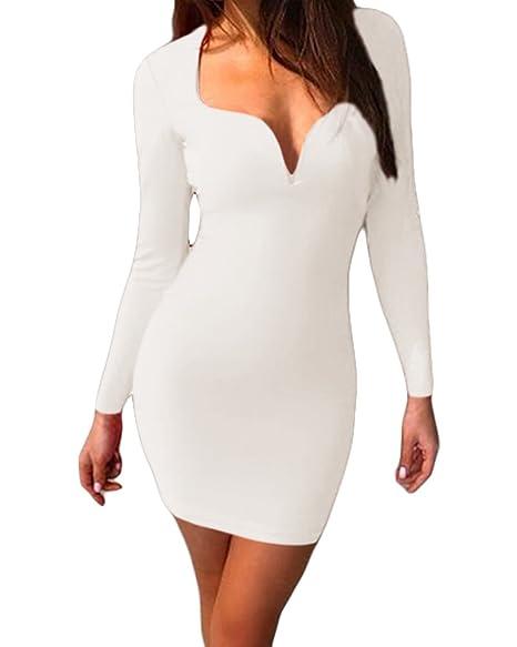 ecfeb3f505 Romacci Women Deep V Neck Long Sleeve Bodycon Dress Party Club Cocktail  Mini Dress Tube White