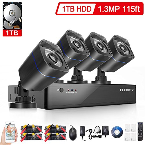 ELECCTV 1080H 8 Channel Security Camera System DVR Video Recorder with 1TB Hard Drive Pre-installed and (4) 2000TVL Weatherproof Cameras SMD LED