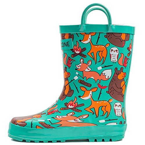 Lone Cone Children's Waterproof Rubber Rain Boots in Fun Patterns with Easy-On Handles Simple For Kids (Campfire Critter Boots, 9 M US Toddler)