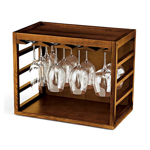 Cube-Stack Wine Glass Rack -Walnut Stain (Rack Glass Stackable)