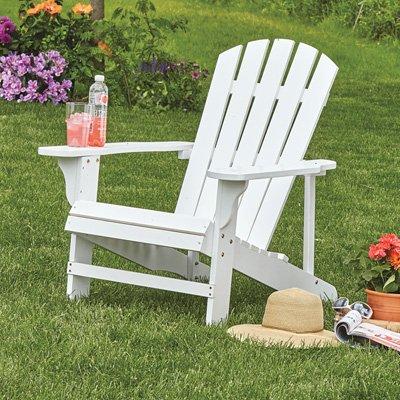 Adirondack Lawn Chair - Classic White Painted Wood Adirondack Chair