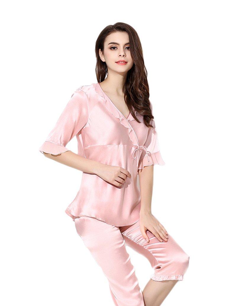 Women's Sleep Sets Pure Silk Nightwear Summer Nightclothes Pink S