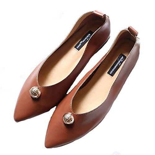Giy Womens Classic Penny Mocassini Rivetti Flat Mocassino Scarpe Casual A Punta Slitta Slip-on Mocassino Marrone