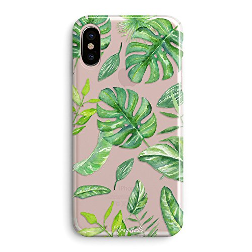 iPhone x Case,Green Big Leaves Chic Clear Rubber Cover for iPhone x - Tropical Banana Bahama Leaves Summer Hawaii Case Pattern Soft Clear Back Case