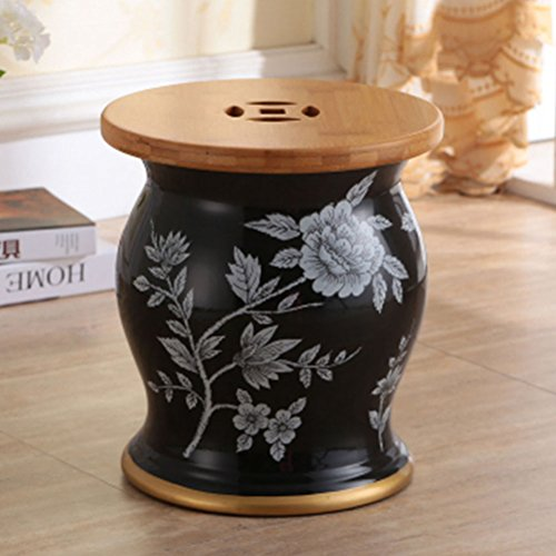 ch-AIR Stool Blue Ceramic Drum Stool Craft Porcelain Vanity Dressing Stool Shoe Bench Home Decoration Storage Hand-Painted Table Pier Leisure Stool Sofa Foot 27X31CM 0612A (Color : Black)