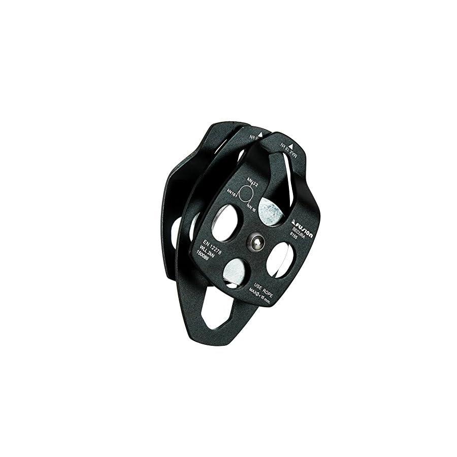 Fusion Climb Secura Double Aluminum Side Swing Pulley, Black