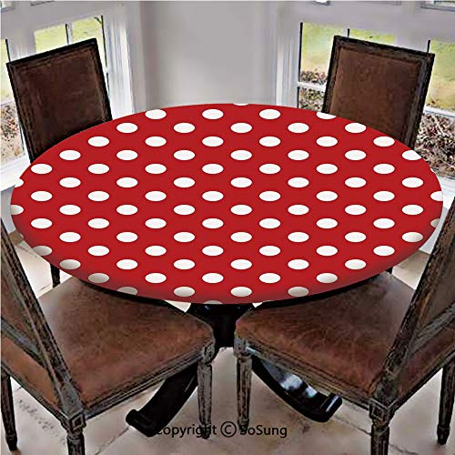 - Elastic Edged Polyester Fitted Table Cover,Vintage Polka Dots with Big White Circular Round Forms Nostalgic Girlish Kitsch Art Design,Fits up to 36