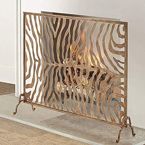 暖炉スクリーン MYL 大規模な華やかなゼブラ柄の暖炉スクリーンシングルパネル、オープン火災/ガス火災のための手作りアイアンファイアスクリーンスパークガード/ログウッドバーナー (Color : Red copper Color)