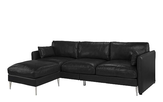 Amazon.com: Moderno sofá de piel seccional, con forma de L ...