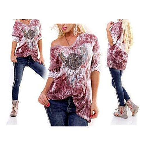 Casual Hibote Tops Shirt Tops Tee Lache Splice Manches T Longues Surdimensionn Sexy Violet Dames Femmes Mode r0wqT61rv
