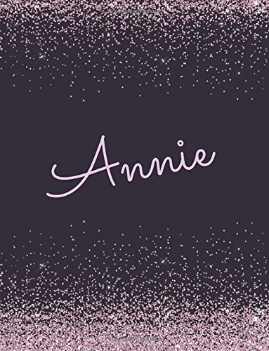 Annie: Annie lined personalized girls journal, notebook, blank book. Large Attractive journal: pink and black glitter texture effects. Arty stylish blank writing journals
