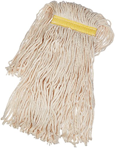 AmazonBasics Cut-End Cotton Commercial String Mop Head, 1.25 Inch Headband, Small, White, 6-Pack