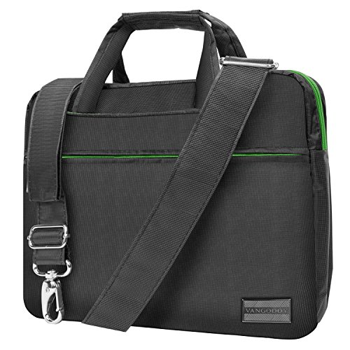 "NineO 10"" Nylon Padded College Messenger Bag Satchel (Grey/Green) for Samsung Galaxy Book 10.6""/Samsung ChromeBook Pro 12.3""/ChromeBook Plus 12.3""/Samsung Galaxy Book 10.6""/Tab S3 9.7"""