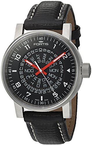 Fortis-Mens-6231051-L01-Spacematic-Classic-Black-Red-Analog-Display-Automatic-Self-Wind-Black-Watch