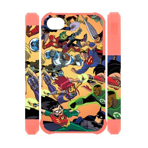 [Justice League Super Hero Group Photo iPhone 4 4S Full protection Durable Cover Case] (Four Group Costumes)