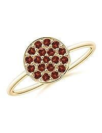 Pave Set Round Garnet Cluster Disc Ring (1.5mm Garnet)