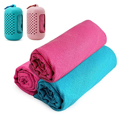 """LANDWIND Fast Drying Towel, Microfiber Towel, Quick Dry Super Absorbent Silicon Case Traveling Workout, Backpacking, Camping, Beach, Gym, Swimming (35.4""""x11.8"""")"""