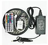 Soled 16.4-Feet SMD 5050 5M Waterproof 300LEDs RGB Flexible LED Strip Light Lamp Kit with 44 Key IR Remote Controller W/ 12V 5A Power Supply Adapter