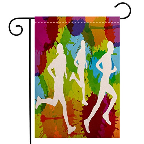 BEIVIVI Creative Home Garden Flag Fitness Runners Silhouettes on Watercolor Splashes Jogging Outdoors Sportsman Marathon Decorative Multicolor Welcome House Flag for Patio Lawn Outdoor Home Decor