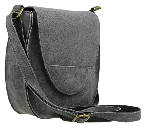 Handbags Genuine Girly Suede Grey Dark Shoulder Bag Flap Oval Rwzq7x1